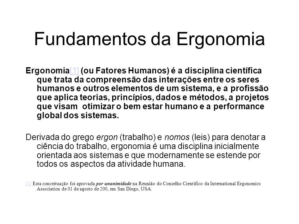Fundamentos da Ergonomia Ergonomia[1] (ou Fatores Humanos) é a disciplina científica que trata da compreensão das interações entre os seres humanos e