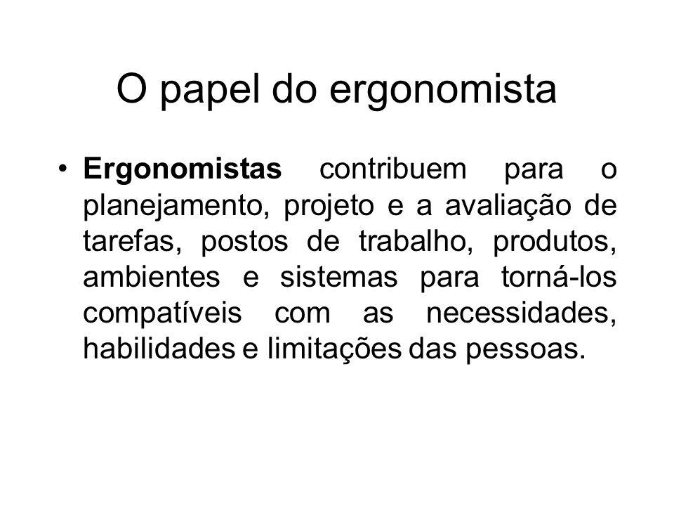 O papel do ergonomista Ergonomistas contribuem para o planejamento, projeto e a avaliação de tarefas, postos de trabalho, produtos, ambientes e sistem