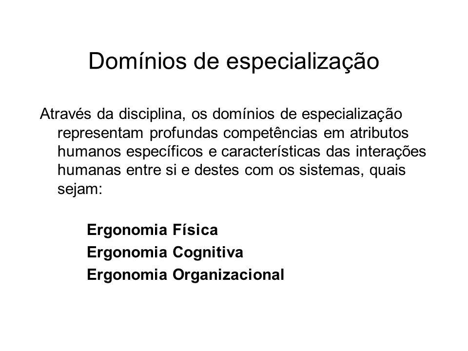 Domínios de especialização Através da disciplina, os domínios de especialização representam profundas competências em atributos humanos específicos e