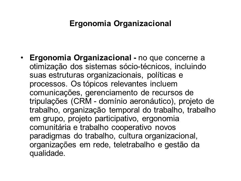 Ergonomia Organizacional Ergonomia Organizacional - no que concerne a otimização dos sistemas sócio-técnicos, incluindo suas estruturas organizacionai