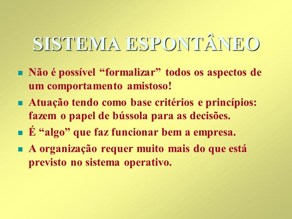 SISTEMA ESPONTÂNEO n n Não é possível formalizar todos os aspectos de um comportamento amistoso! n n Atuação tendo como base critérios e princípios: f