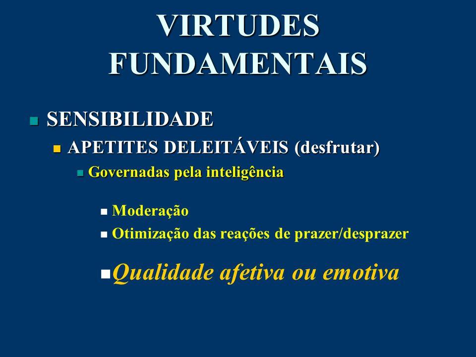 VIRTUDES FUNDAMENTAIS n SENSIBILIDADE APETITES DELEITÁVEIS (desfrutar) APETITES DELEITÁVEIS (desfrutar) Governadas pela inteligência Governadas pela i