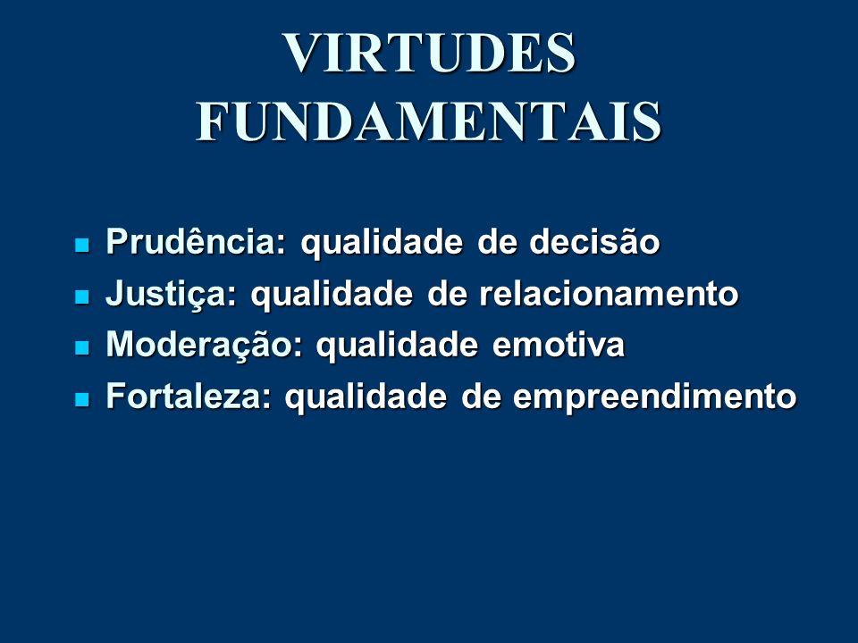 VIRTUDES FUNDAMENTAIS Prudência: qualidade de decisão Prudência: qualidade de decisão Justiça: qualidade de relacionamento Justiça: qualidade de relac