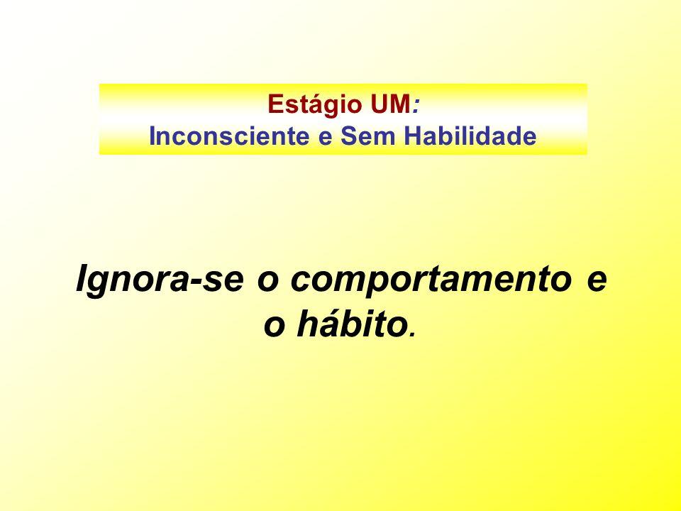 Ignora-se o comportamento e o hábito. Estágio UM: Inconsciente e Sem Habilidade