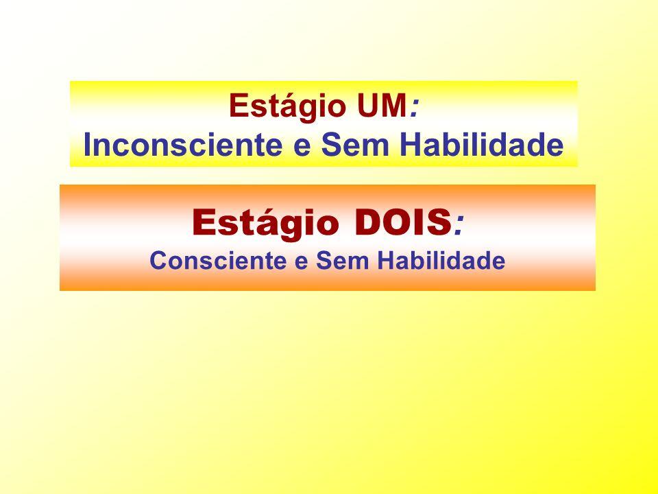 Estágio DOIS : Consciente e Sem Habilidade Estágio UM: Inconsciente e Sem Habilidade