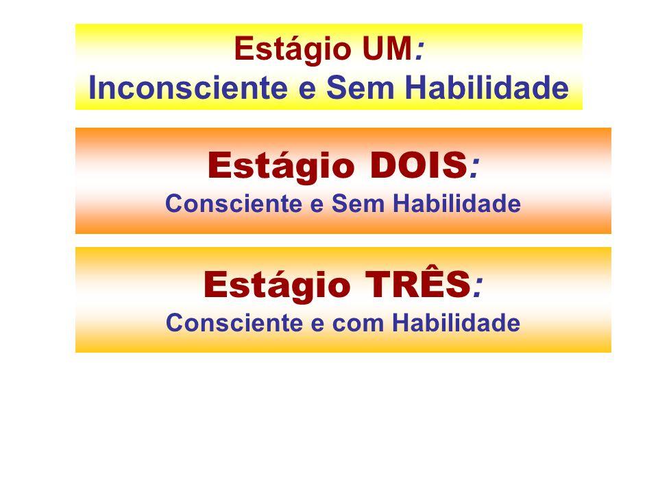 Estágio DOIS : Consciente e Sem Habilidade Estágio UM: Inconsciente e Sem Habilidade Estágio TRÊS : Consciente e com Habilidade