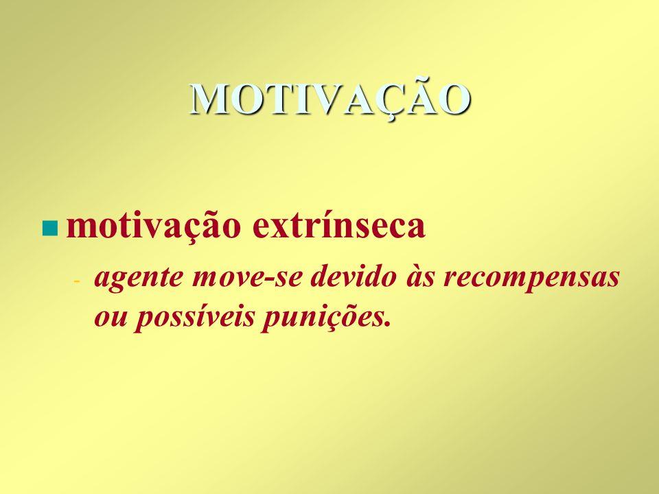 MOTIVAÇÃO n n motivação extrínseca - - agente move-se devido às recompensas ou possíveis punições.
