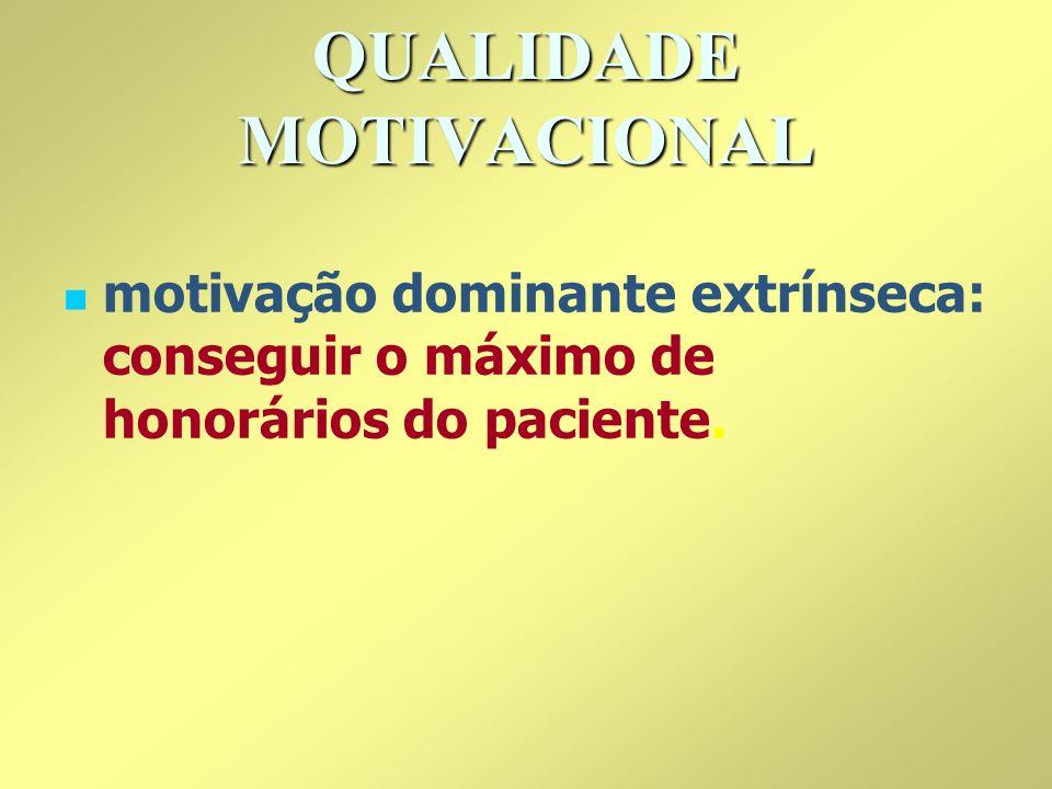 QUALIDADE MOTIVACIONAL motivação dominante extrínseca: conseguir o máximo de honorários do paciente.
