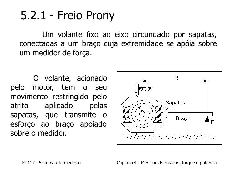 TM-117 - Sistemas de mediçãoCapítulo 4 - Medição de rotação, torque e potência 5.2.1 - Freio Prony Um volante fixo ao eixo circundado por sapatas, con