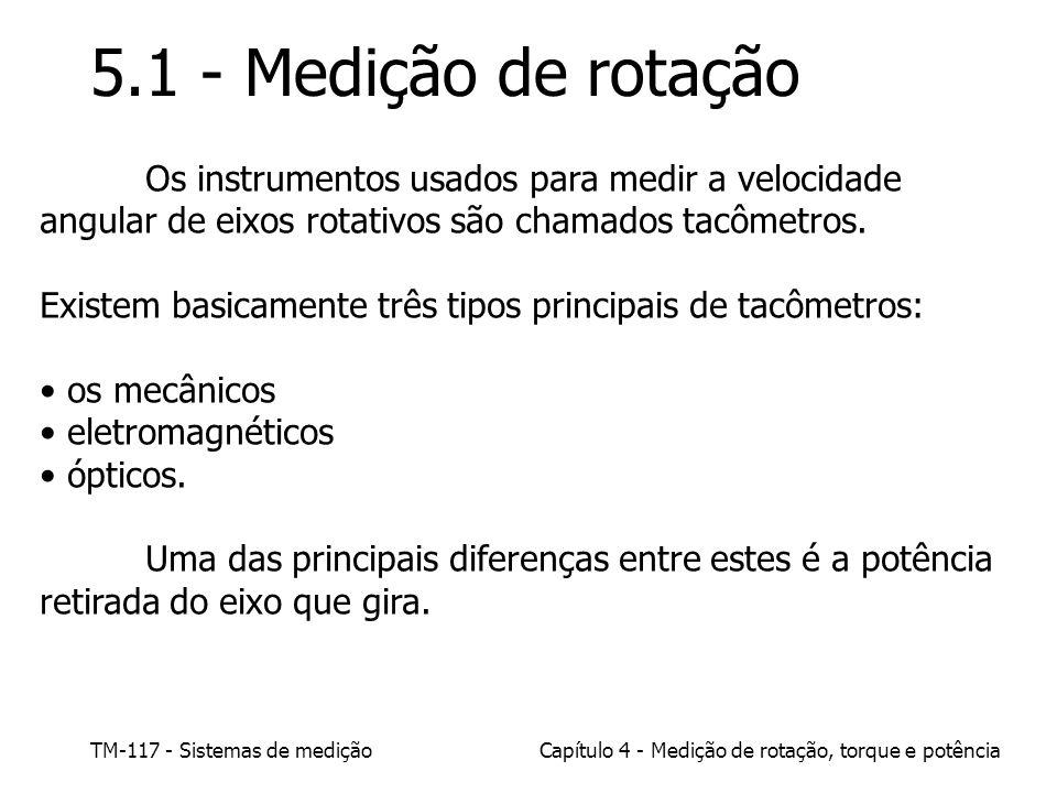 TM-117 - Sistemas de mediçãoCapítulo 4 - Medição de rotação, torque e potência 5.1 - Medição de rotação Os instrumentos usados para medir a velocidade