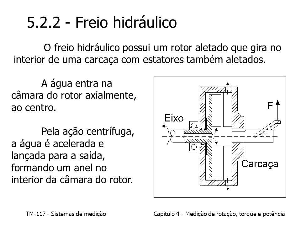 TM-117 - Sistemas de mediçãoCapítulo 4 - Medição de rotação, torque e potência 5.2.2 - Freio hidráulico O freio hidráulico possui um rotor aletado que