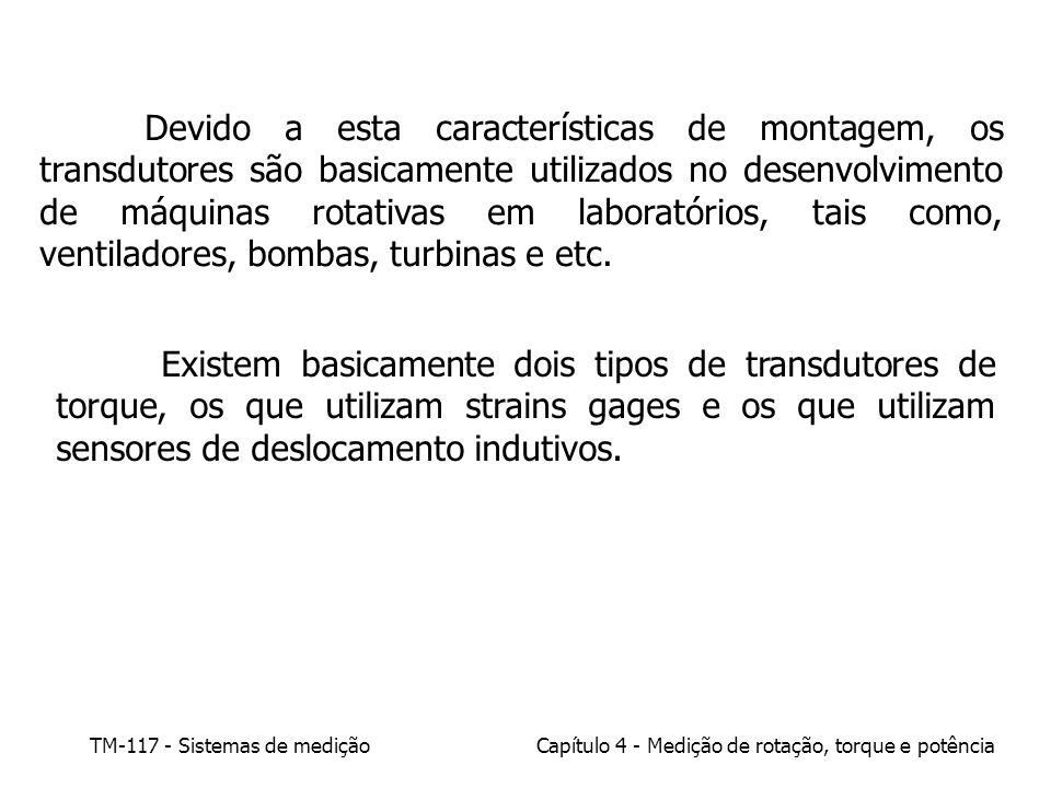 TM-117 - Sistemas de mediçãoCapítulo 4 - Medição de rotação, torque e potência Devido a esta características de montagem, os transdutores são basicame