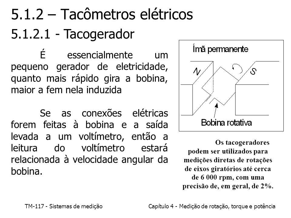 TM-117 - Sistemas de mediçãoCapítulo 4 - Medição de rotação, torque e potência 5.1.2 – Tacômetros elétricos 5.1.2.1 - Tacogerador É essencialmente um