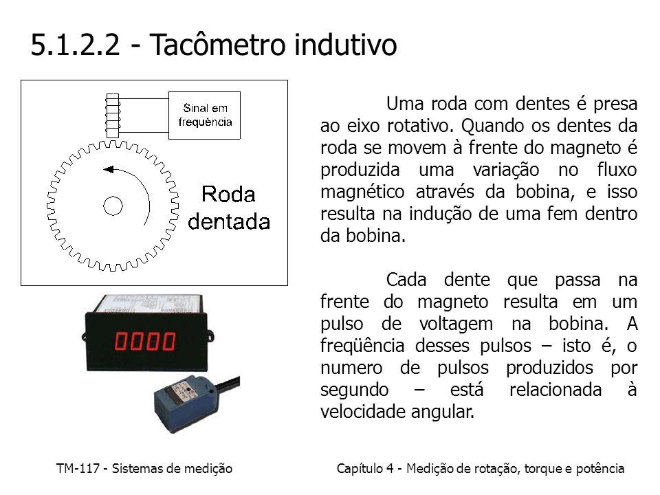 TM-117 - Sistemas de mediçãoCapítulo 4 - Medição de rotação, torque e potência 5.1.2.2 - Tacômetro indutivo Uma roda com dentes é presa ao eixo rotati