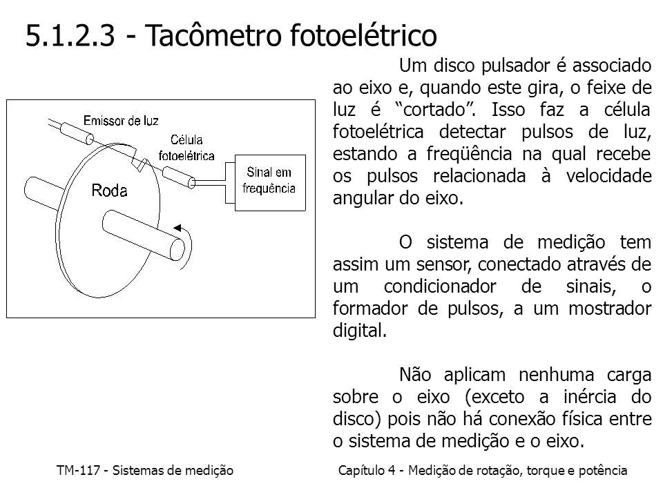 TM-117 - Sistemas de mediçãoCapítulo 4 - Medição de rotação, torque e potência 5.1.2.3 - Tacômetro fotoelétrico Um disco pulsador é associado ao eixo