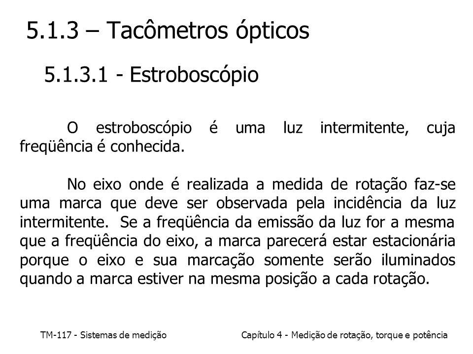TM-117 - Sistemas de mediçãoCapítulo 4 - Medição de rotação, torque e potência 5.1.3 – Tacômetros ópticos 5.1.3.1 - Estroboscópio O estroboscópio é um