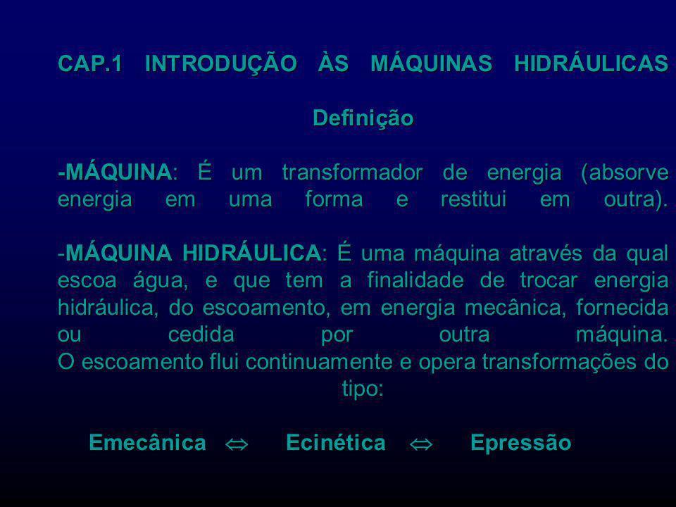 CAP.1 INTRODUÇÃO ÀS MÁQUINAS HIDRÁULICAS Definição -MÁQUINA: É um transformador de energia (absorve energia em uma forma e restitui em outra). -MÁQUIN