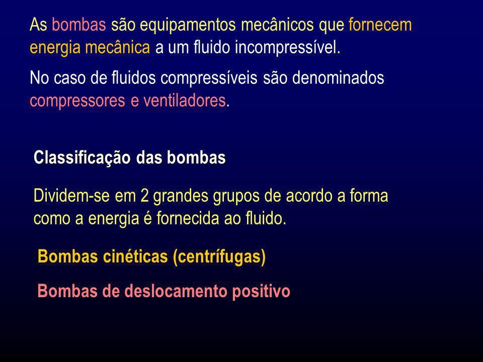 As bombas são equipamentos mecânicos que fornecem energia mecânica a um fluido incompressível. Classificação das bombas Dividem-se em 2 grandes grupos