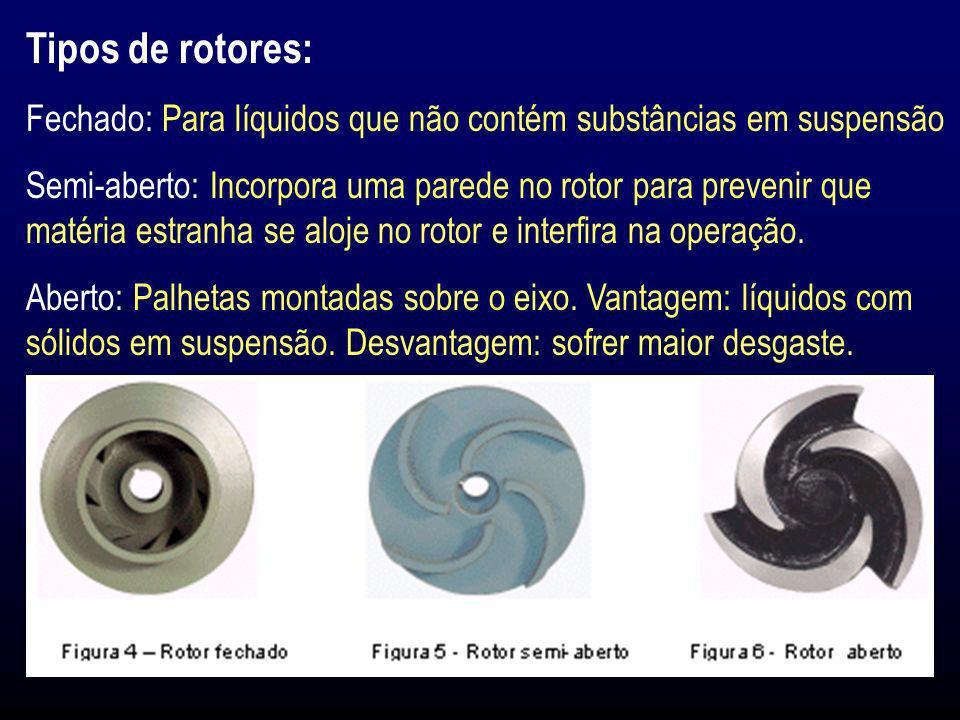 Tipos de rotores: Fechado: Para líquidos que não contém substâncias em suspensão Semi-aberto: Incorpora uma parede no rotor para prevenir que matéria