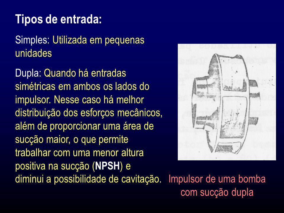 Tipos de entrada: Simples: Utilizada em pequenas unidades Dupla: Quando há entradas simétricas em ambos os lados do impulsor. Nesse caso há melhor dis