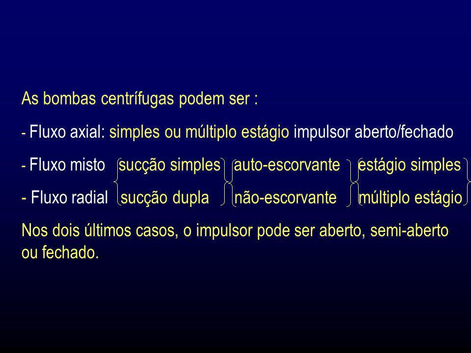 As bombas centrífugas podem ser : - Fluxo axial: simples ou múltiplo estágio impulsor aberto/fechado - Fluxo misto sucção simples auto-escorvante está