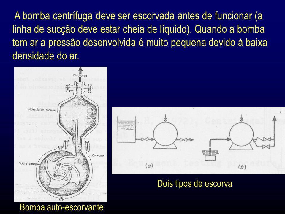 A bomba centrífuga deve ser escorvada antes de funcionar (a linha de sucção deve estar cheia de líquido). Quando a bomba tem ar a pressão desenvolvida