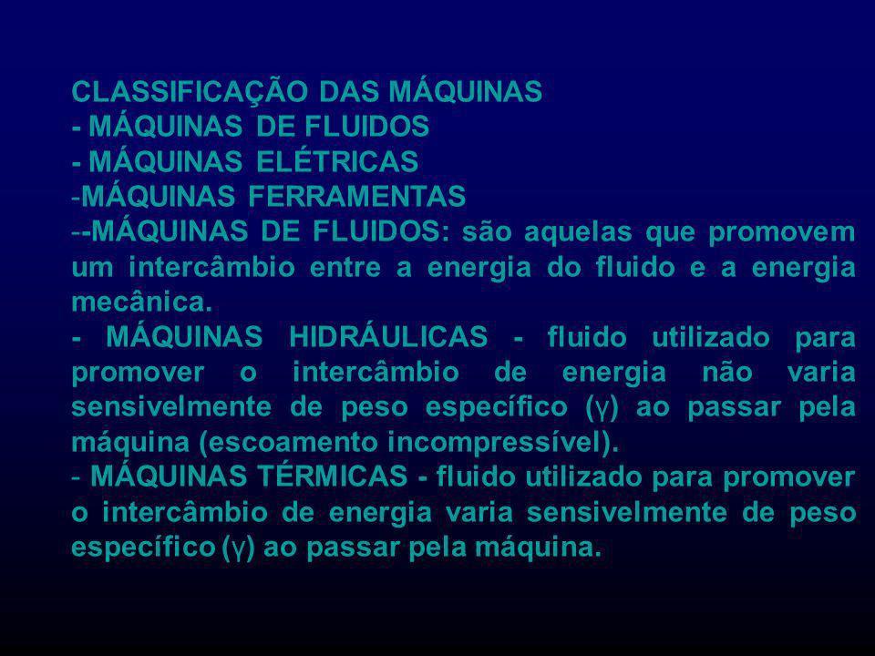 CLASSIFICAÇÃO DAS MÁQUINAS - MÁQUINAS DE FLUIDOS - MÁQUINAS ELÉTRICAS -MÁQUINAS FERRAMENTAS --MÁQUINAS DE FLUIDOS: são aquelas que promovem um intercâ