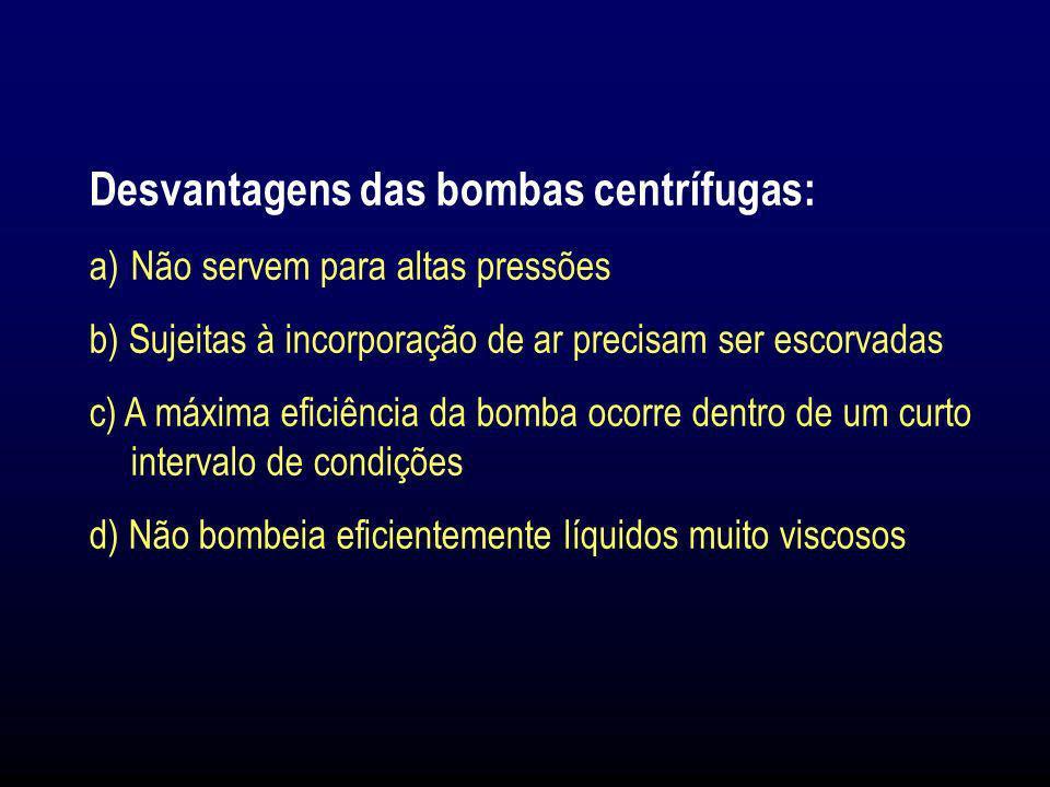 Desvantagens das bombas centrífugas: a)Não servem para altas pressões b) Sujeitas à incorporação de ar precisam ser escorvadas c) A máxima eficiência