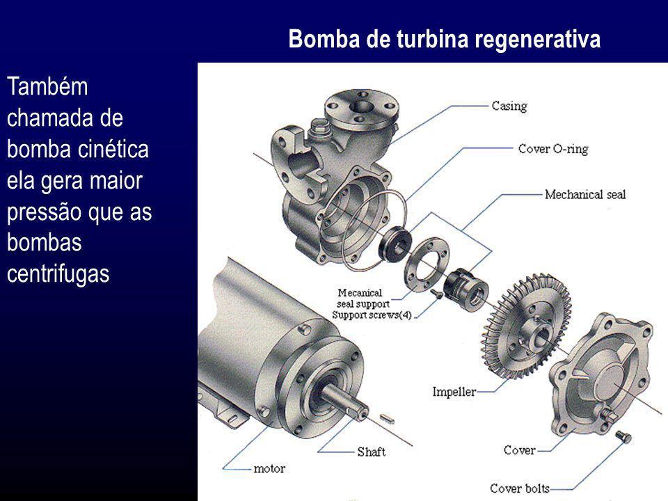 Bomba de turbina regenerativa Também chamada de bomba cinética ela gera maior pressão que as bombas centrifugas