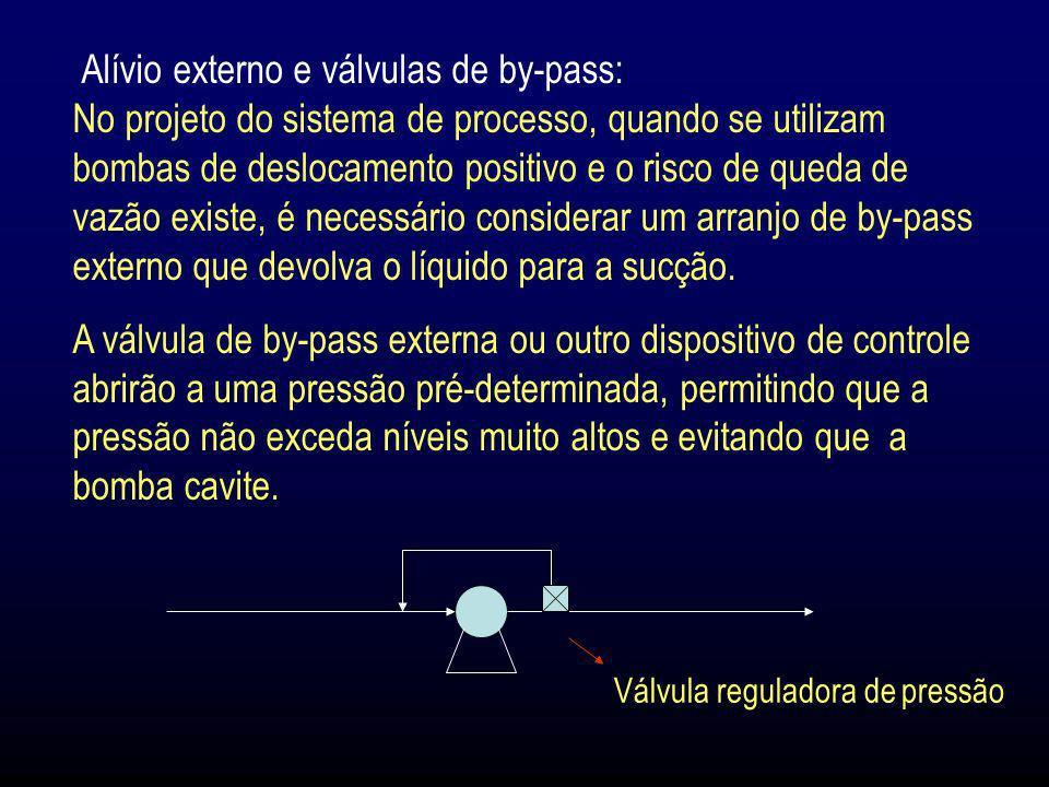 Alívio externo e válvulas de by-pass: No projeto do sistema de processo, quando se utilizam bombas de deslocamento positivo e o risco de queda de vazã