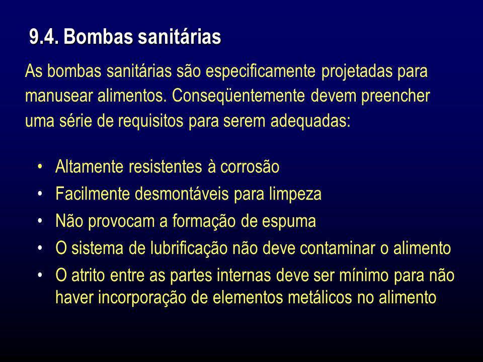 9.4. Bombas sanitárias As bombas sanitárias são especificamente projetadas para manusear alimentos. Conseqüentemente devem preencher uma série de requ