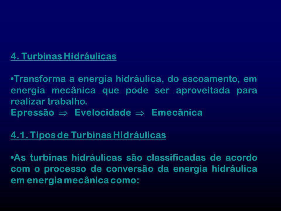 4. Turbinas Hidráulicas Transforma a energia hidráulica, do escoamento, em energia mecânica que pode ser aproveitada para realizar trabalho. Epressão