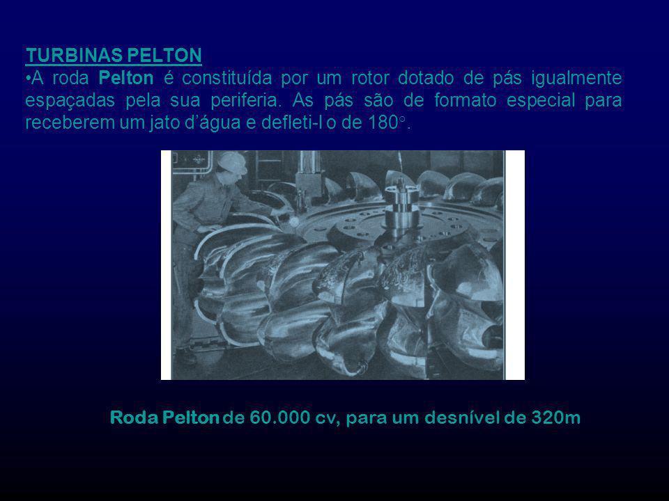 TURBINAS PELTON A roda Pelton é constituída por um rotor dotado de pás igualmente espaçadas pela sua periferia. As pás são de formato especial para re