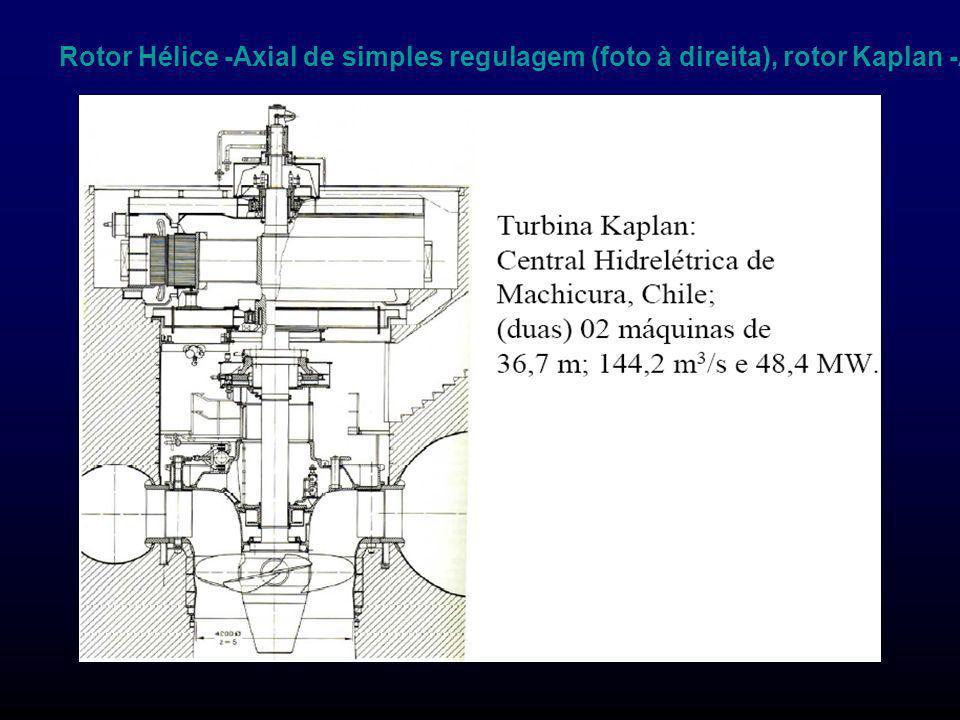 Rotor Hélice -Axial de simples regulagem (foto à direita), rotor Kaplan -Axial de dupla regulagem