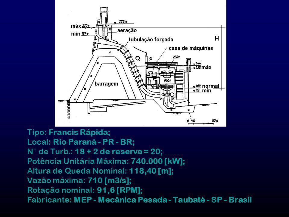 Tipo: Francis Rápida; Local: Rio Paraná - PR - BR; N de Turb.: 18 + 2 de reserva = 20; Potência Unitária Máxima: 740.000 [kW]; Altura de Queda Nominal