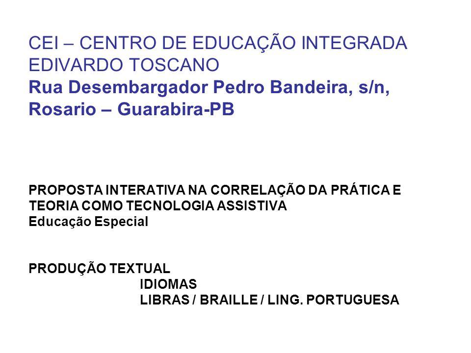 CEI – CENTRO DE EDUCAÇÃO INTEGRADA EDIVARDO TOSCANO Rua Desembargador Pedro Bandeira, s/n, Rosario – Guarabira-PB PROPOSTA INTERATIVA NA CORRELAÇÃO DA