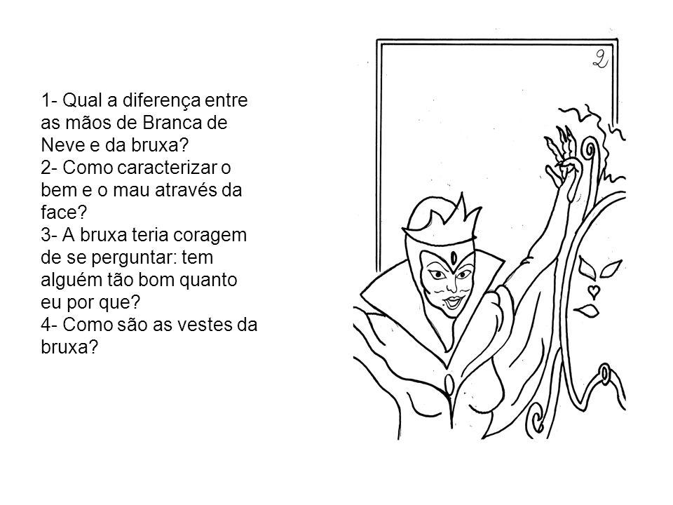 1- Qual a diferença entre as mãos de Branca de Neve e da bruxa? 2- Como caracterizar o bem e o mau através da face? 3- A bruxa teria coragem de se per