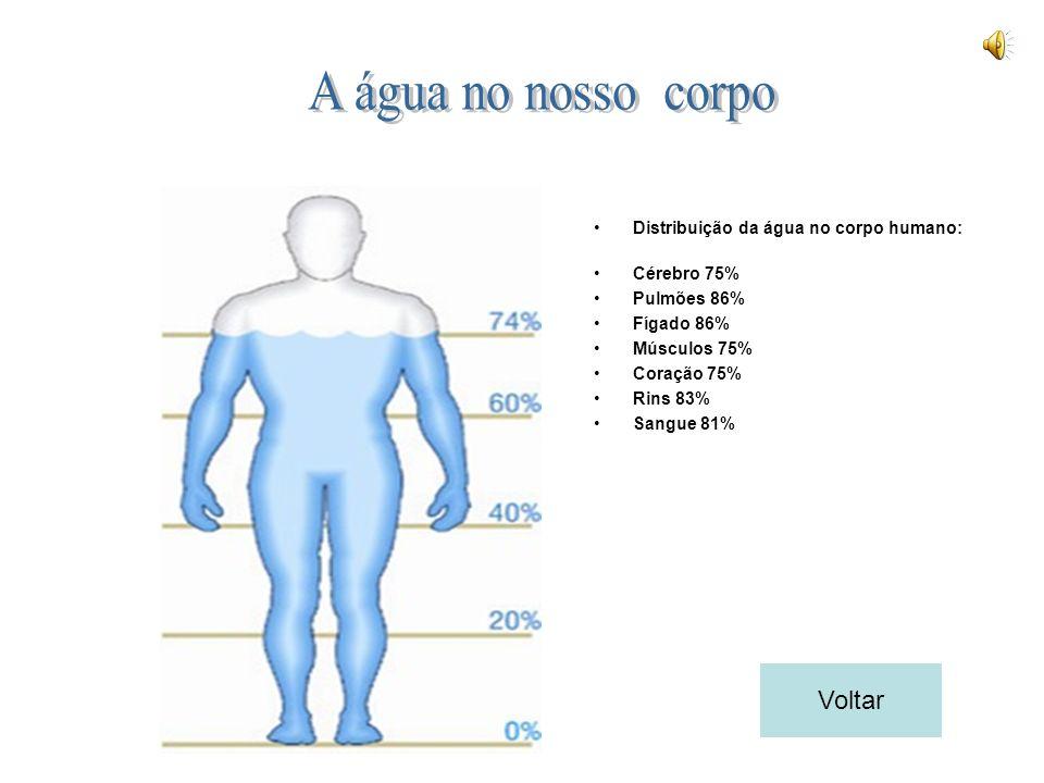Distribuição da água no corpo humano: Cérebro 75% Pulmões 86% Fígado 86% Músculos 75% Coração 75% Rins 83% Sangue 81% Voltar
