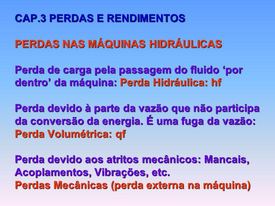 CAP.3 PERDAS E RENDIMENTOS PERDAS NAS MÁQUINAS HIDRÁULICAS Perda de carga pela passagem do fluido por dentro da máquina: Perda Hidráulica: hf Perda de
