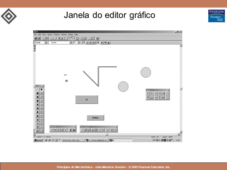 © 2005 by Pearson Education Princípios de Mecatrônica – João Maurício Rosário – © 2005 Pearson Education, Inc. Janela do editor gráfico