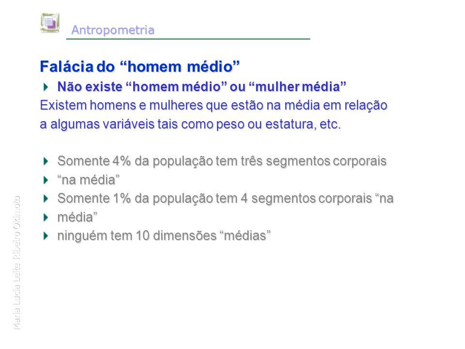 Maria Lucia Leite Ribeiro Okimoto Antropometria Antropometria Falácia do homem médio Não existe homem médio ou mulher média Existem homens e mulheres