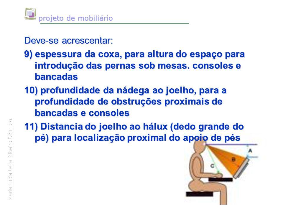 Maria Lucia Leite Ribeiro Okimoto projeto de mobiliário projeto de mobiliário Deve-se acrescentar: 9) espessura da coxa, para altura do espaço para in