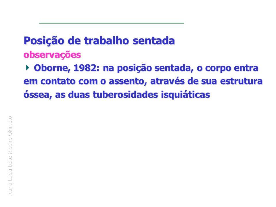 Maria Lucia Leite Ribeiro Okimoto Posição de trabalho sentada observações Oborne, 1982: na posição sentada, o corpo entra em contato com o assento, at