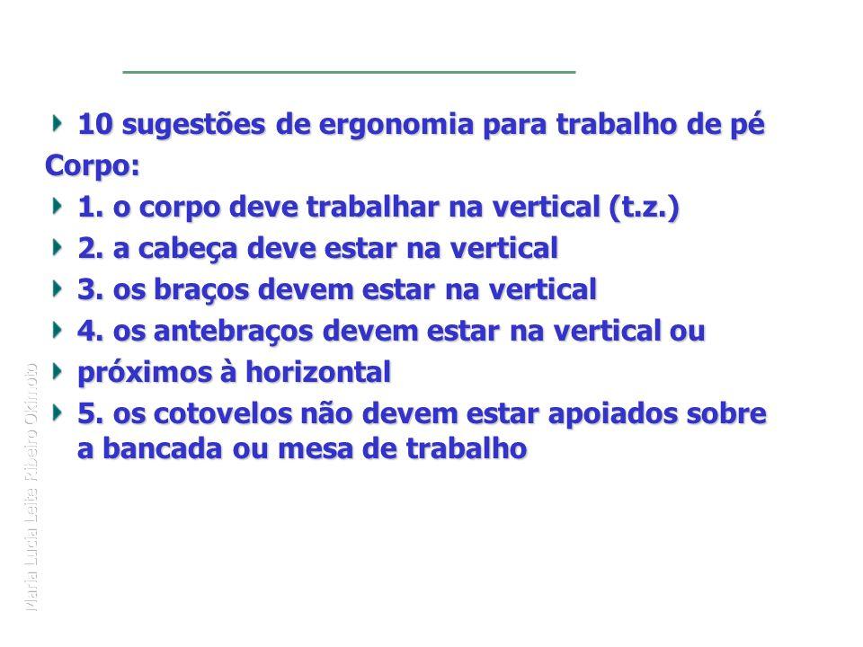 Maria Lucia Leite Ribeiro Okimoto 10 sugestões de ergonomia para trabalho de pé Corpo: 1. o corpo deve trabalhar na vertical (t.z.) 2. a cabeça deve e