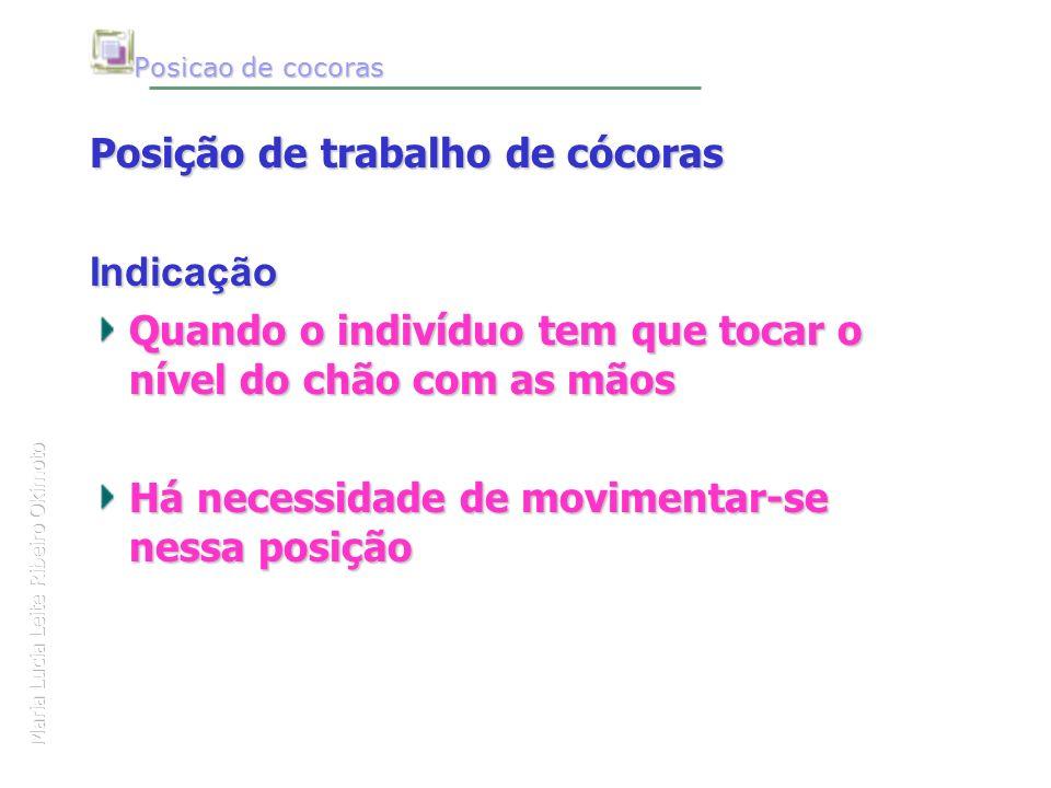 Maria Lucia Leite Ribeiro Okimoto Posicao de cocoras Posição de trabalho de cócoras Indicação Quando o indivíduo tem que tocar o nível do chão com as