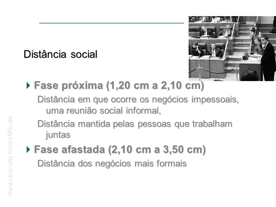 Maria Lucia Leite Ribeiro Okimoto Distância social Fase próxima (1,20 cm a 2,10 cm) Distância em que ocorre os negócios impessoais, uma reunião social