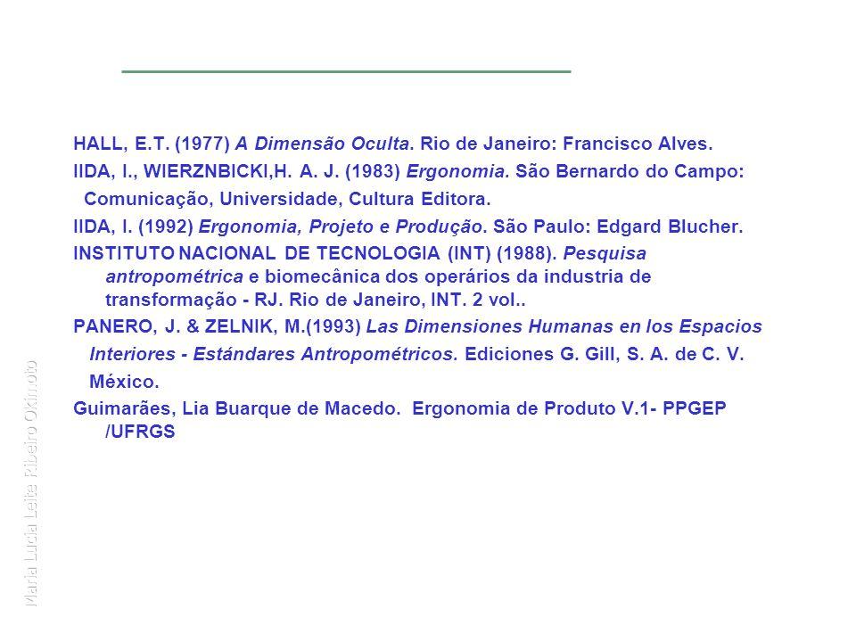 Maria Lucia Leite Ribeiro Okimoto HALL, E.T. (1977) A Dimensão Oculta. Rio de Janeiro: Francisco Alves. IIDA, I., WIERZNBICKI,H. A. J. (1983) Ergonomi