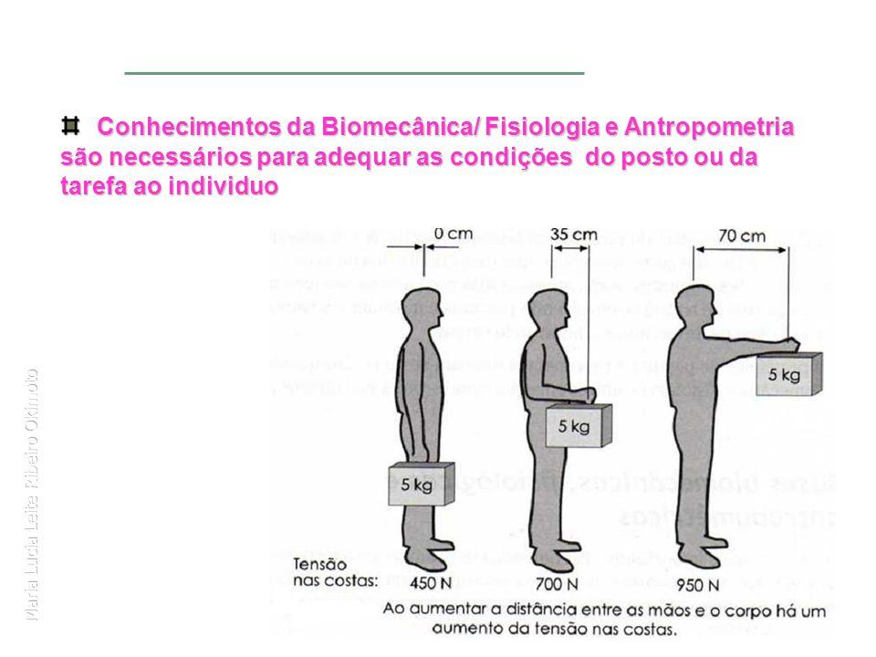 Maria Lucia Leite Ribeiro Okimoto Conhecimentos da Biomecânica/ Fisiologia e Antropometria são necessários para adequar as condições do posto ou da ta