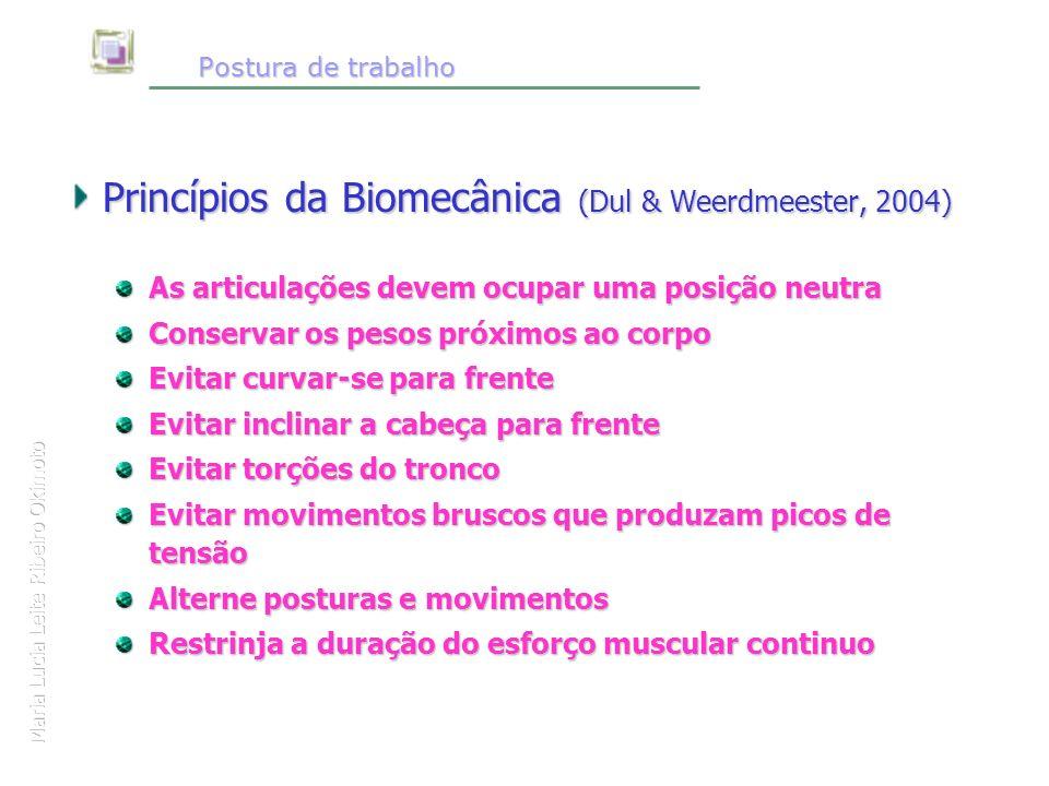 Postura de trabalho Postura de trabalho Princípios da Biomecânica (Dul & Weerdmeester, 2004) As articulações devem ocupar uma posição neutra Conservar