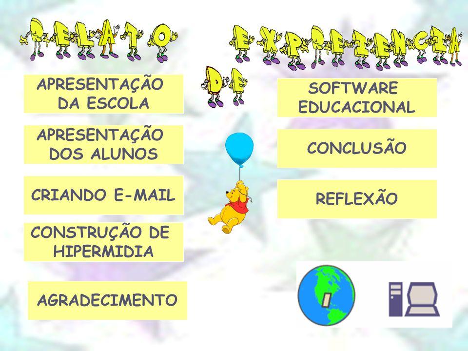 APRESENTAÇÃO DA ESCOLA CRIANDO E-MAIL CONSTRUÇÃO DE HIPERMIDIA SOFTWARE EDUCACIONAL CONCLUSÃO REFLEXÃO APRESENTAÇÃO DOS ALUNOS AGRADECIMENTO